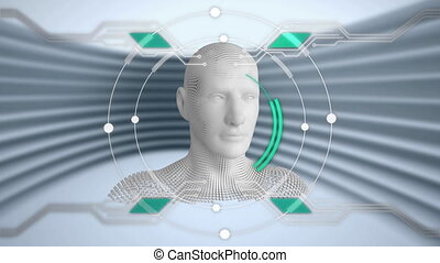 Moving human bust with circuit board