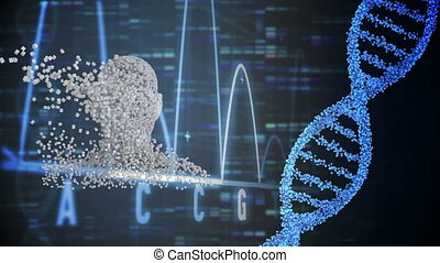 Moving human bust with DNA strand