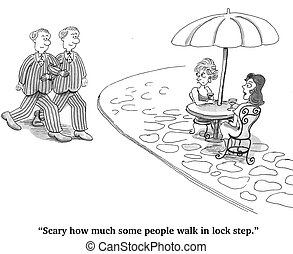 Moving in Lockstep - Cartoon about lack of individuality.