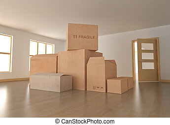 Moving in - Empty room with boxes; 3D rendered image.