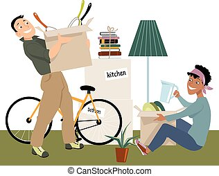 Moving in together - Young couple moving into a new place, ...