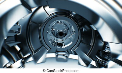 Moving Inside Abstract Engine with Rotating Steel Gears Seamless. Beautiful Looped 3d Animation. Working Process Illustration. Teamwork Business and Technology Concept. 4k Ultra HD