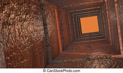 Moving inside the abstract metal Pipe or Tunnel