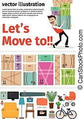 Moving into new apartment infographics. Man carrying...