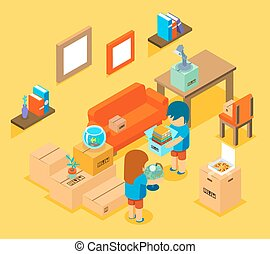 Moving into new apartment. Isometric 3d vector illustration...