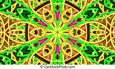 Moving kaleidoscope with dominating green color