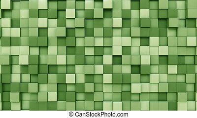 Moving light green cubes