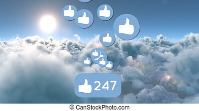 Animation of like icons and numbers in the bright sunny sky. The number is counting while the icons are moving 4k