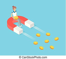 Moving magnet vector, attracting gold money, dollar cash. Woman sitting on attractor colored in red and white. Finance ideas of increasing profits