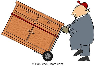 Moving Man - This illustration depicts a man moving a chest ...