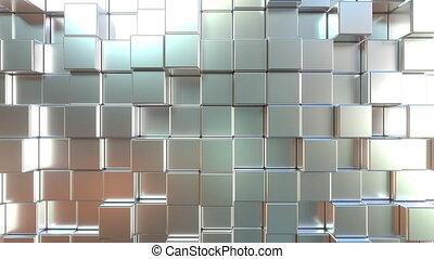 Moving metal square blocks. Loopable 3D