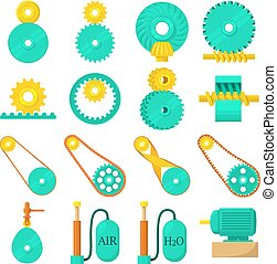 Moving mechanisms icons set, cartoon style