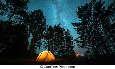 Moving milky way above tent at night time lapse