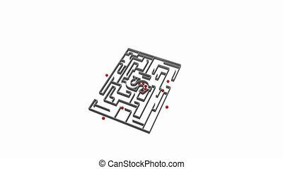 Moving money maze with white back
