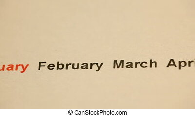 Moving months of the year abstract background