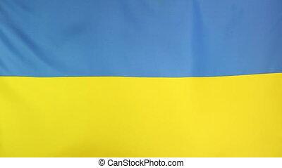 Moving national flag of Ukraine