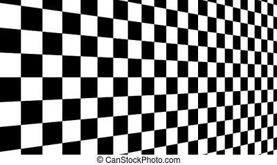 Moving of a chessboard a background bent in the form of the screen, black and white geometric design.