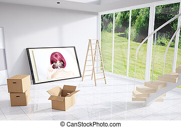 Moving out from a loft with ladder and cardboard boxes