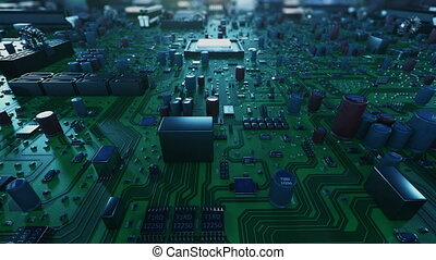 Moving Over Mother Board and Jump Inside CPU Into Digital Data Cyberspace Blue Color. Abstract 3d Animation of Processor Structure and Card Elements. Digital Concept. 4k Ultra HD 3840x2160.