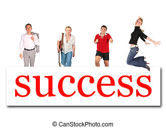 moving people to success word board collage