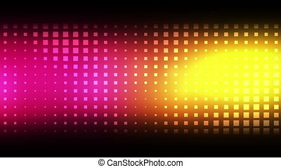 Moving pink and yellow squares against a black background