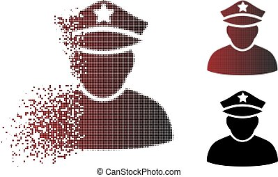 Moving Pixel Halftone Army General Icon