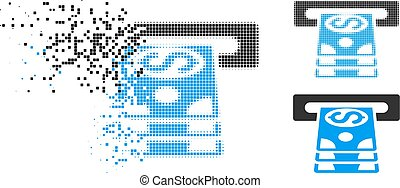 Moving Pixel Halftone Bank Cashpoint Icon - Bank cashpoint...