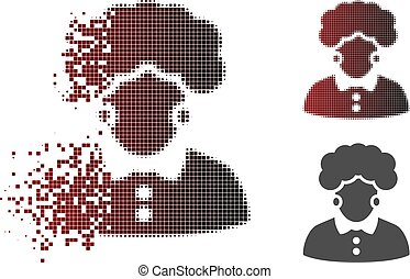 Moving Pixel Halftone Brunette Woman Icon