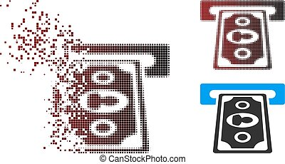 Moving Pixel Halftone Cashpoint Terminal Icon - Vector...