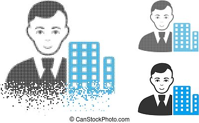Moving Pixel Halftone City Architect Icon with Face