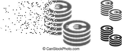 Moving Pixel Halftone Euro Coin Columns Icon