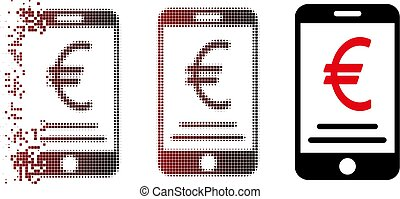 Moving Pixel Halftone Euro Mobile Payment Icon