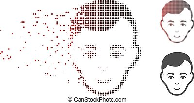 Moving Pixel Halftone Face Icon