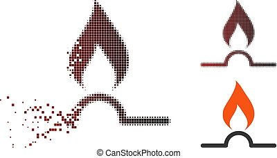 Moving Pixel Halftone Gas Flame Icon