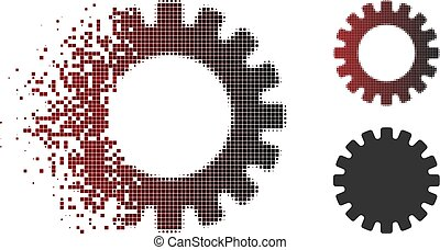 Moving Pixel Halftone Gear Icon