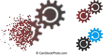 Moving Pixel Halftone Gear Mechanism Rotation Icon - Vector...