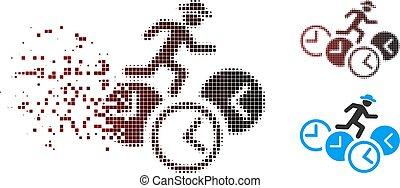 Moving Pixel Halftone Gentleman Running Over Clocks Icon