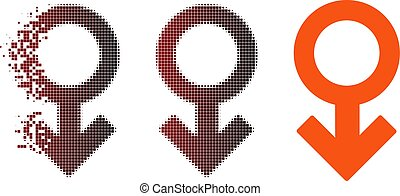 Moving Pixel Halftone Impotence Symbol Icon - Vector...