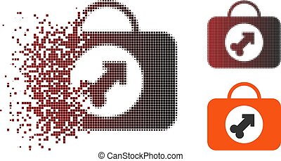 Moving Pixel Halftone Male Erection Case Icon - Vector male...