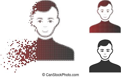 Moving Pixel Halftone Male Icon