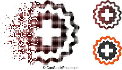 Moving Pixel Halftone Medical Cross Stamp Icon