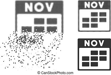 Moving Pixel Halftone November Calendar Grid Icon - November...