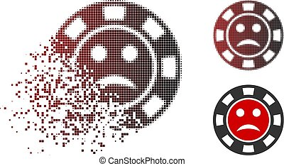Pity casino chip icon in dispersed, pixelated halftone and undamaged solid versions. Pixels are combined into vector dispersed pity casino chip icon.
