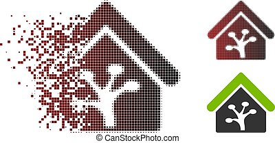 Moving Pixel Halftone Plant Glasshouse Icon - Vector plant ...
