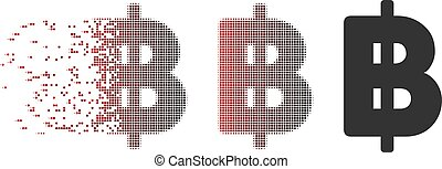 Moving Pixel Halftone Thai Baht Icon - Vector Thai Baht icon...
