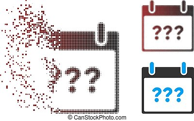 Moving Pixel Halftone Unknown Day Calendar Page Icon -...