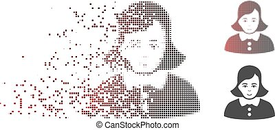 Moving Pixel Halftone Woman Icon