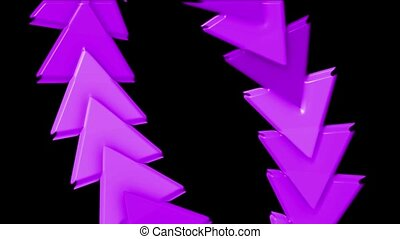 moving plastic arrow & triangle cards array, business computer background.