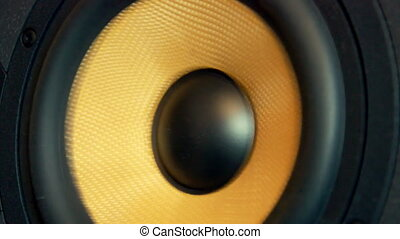 Moving professional music studio monitor. Close-up.
