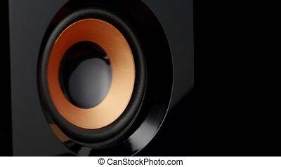 Moving professional music studio monitor. Closeup.